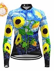 cheap -21Grams Women's Long Sleeve Cycling Jersey Winter Fleece Spandex Blue Bike Top Mountain Bike MTB Road Bike Cycling Fleece Lining Warm Moisture Wicking Sports Clothing Apparel / Stretchy / Athleisure