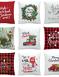 cheap -Christmas Party Decoration Christmas Gift Double Side Cushion Cover 9PC Soft Decorative Square Throw Pillow Cover Cushion Case Pillowcase for Bedroom Livingroom Superior Quality Machine Washable Indoor Cushion for Sofa Couch Bed Chair
