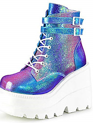 cheap -Women's Boots Platform Booties Ankle Boots Sporty Punk & Gothic Daily Walking Shoes PU Leather Colorful White Black