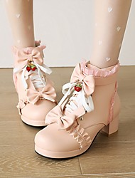 cheap -Women's Lolita Shoes Cuban Heel Round Toe Booties Ankle Boots Wedding Daily PU Bowknot Lace-up Solid Colored Pink White Black / Booties / Ankle Boots
