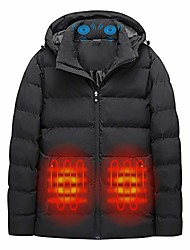 cheap -massage electric heated jacket for men women double switch adjustable temperature usb heating jacket waterproof winter warm heated coat (not included power bank) (style-2 black, l)