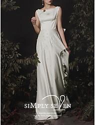 cheap -A-Line Wedding Dresses Jewel Neck Floor Length Satin Sleeveless Romantic Vintage with Bow(s) Beading 2021