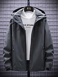 cheap -Men's Outdoor Jacket Street Daily Fall Spring Regular Coat Zipper Hoodie Regular Fit Waterproof Windproof Breathable Casual Jacket Long Sleeve Solid Color Pocket Dark Grey Army Green Black