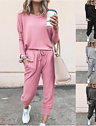 cheap -Women's Sweatsuit 2 Piece Set Drawstring Pocket Loose Fit Minimalist Crew Neck Polyester Solid Color Cute Sport Athleisure Clothing Suit Long Sleeve Soft Oversized Comfortable Running Everyday Use