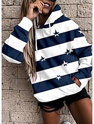 cheap -Women's Hoodie Sweatshirt Striped Stars Front Pocket Print Sports Holiday 3D Print Active Streetwear Hoodies Sweatshirts  Blue Green Black