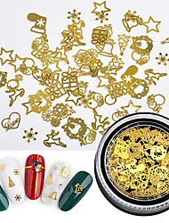 cheap -120pcs Golden Nail Stud Metal Jewelry Christmas Leaf Gear Mixed Super Thin Slice Computer Tablet 3D Nail Art Decoration Manicure