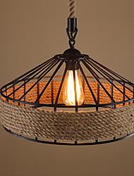 cheap -40 cm Single Design Pendant Light Hemp Rope Vintage Style Painted Finishes Vintage