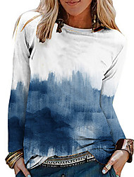 cheap -Women's Abstract Painting T shirt Tie Dye Print Round Neck Basic Tops Blue / 3D Print