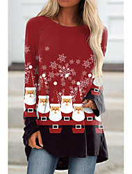 cheap -Women's Christmas Abstract Painting T shirt Graphic Print Round Neck Basic Christmas Tops Red / 3D Print