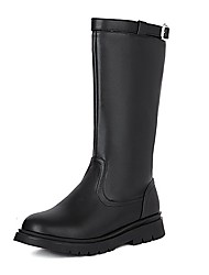 cheap -Girls' Boots Mid-Calf Boots School Shoes PU Breathability Non-slipping Fashion Boots Big Kids(7years +) School Daily Zipper White Black Fall Winter / Rubber