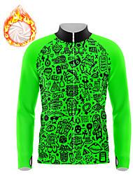 cheap -21Grams Men's Long Sleeve Cycling Jersey Winter Fleece Spandex Green Fluorescent Bike Top Mountain Bike MTB Road Bike Cycling Fleece Lining Warm Moisture Wicking Sports Clothing Apparel / Athleisure
