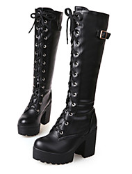 cheap -Women's Cosplay Boots Lolita Platform Block Heel Chunky Heel Slouch Boots Punk & Gothic Dress Leatherette Lace-up Solid Colored Winter White Black / Knee High Boots