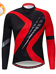 cheap -21Grams Men's Long Sleeve Cycling Jersey Winter Fleece Spandex Black / Red Color Block Bike Top Mountain Bike MTB Road Bike Cycling Quick Dry Moisture Wicking Sports Clothing Apparel / Stretchy