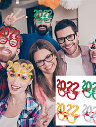 cheap -4pcs New Year 2022 Glasses Frame Photo Booth Props Merry Christmas Ornaments Gift Natale New Year Eve Xmas Party Decorations