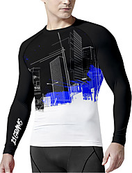cheap -21Grams Men's Long Sleeve Compression Shirt Running Shirt Top Athletic Athleisure Spandex Quick Dry Moisture Wicking Breathable Fitness Gym Workout Running Active Training Exercise Sportswear Color