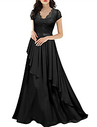 cheap -Sheath / Column V Neck Floor Length Chiffon / Lace Bridesmaid Dress with Pleats / Ruffles