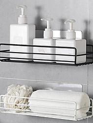 cheap -Wall Mounted Bathroom Shelf Floating Shelves Shower Hanging Basket Shampoo Holders WC Accessories Kitchen Seasoning Storage Rack
