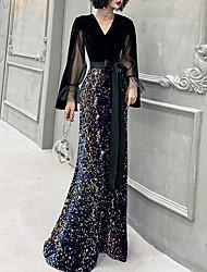 cheap -Mermaid / Trumpet Sparkle Gothic Prom Formal Evening Dress V Neck Long Sleeve Floor Length Sequined Velvet with Sash / Ribbon Sequin 2021