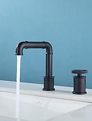 cheap -Black Bathroom Sink Faucet - Widespread  360 degree rotatable Single Handle One Hole Bath Taps