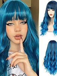 cheap -Synthetic Blue Wig with Bangs Long Wavy Wig with Air Bangs for Women Synthetic Mix Blue Wigs Fluffy Wavy colorful wigs for Cosplay Party Daily Wear 24 Inches