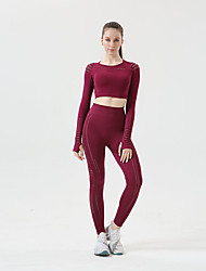 cheap -Women's 2pcs Yoga Suit Summer 2 Piece Clothing Suit Yellow Pink Yoga Fitness Gym Workout High Waist Breathable Long Sleeve Sport Activewear High Elasticity / Leggings / Athletic / Athleisure
