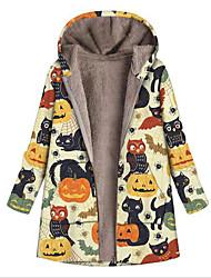 cheap -Women's Coat Halloween Street Daily Fall Winter Regular Coat Regular Fit Warm Breathable Casual Jacket Long Sleeve Floral Skull Pocket Print Fuchsia Khaki Green