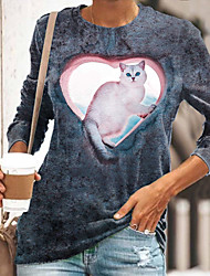 cheap -Women's 3D Cat Painting T shirt Cat Heart 3D Print Round Neck Basic Tops Gray