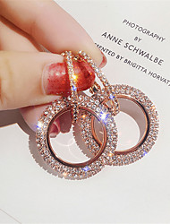 cheap -Women's Girls' Crystal Earrings Circle Princess Fashion Rose Gold Earrings Jewelry Rose Gold / Silver / Gold For Party Evening Date 1 Pair
