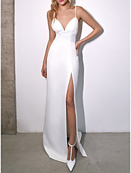cheap -Sheath / Column Wedding Dresses V Neck Spaghetti Strap Floor Length Satin Sleeveless Simple Sexy with Split Front 2021
