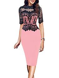 cheap -Women's Sheath Dress Knee Length Dress Blushing Pink Red Half Sleeve Floral Lace Patchwork Fall Round Neck Elegant Casual Sexy Regular Fit 2021 S M L XL XXL 3XL 4XL 5XL / Cotton
