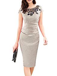 cheap -Women's Sheath Dress Knee Length Dress Khaki Sleeveless Floral Lace Fall Summer Round Neck Work Elegant Casual Party 2021 S M L XL XXL / Party Dress
