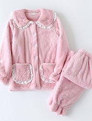 cheap -Women's Pajamas Sets Home Daily Bed Lace Elastic Waist Pure Color Coral Fleece Coral Velvet Simple Fashion Soft Shirt Pant Fall Winter Lapel Long Sleeve Long Pant Buckle Pocket
