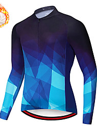 cheap -21Grams Men's Long Sleeve Cycling Jersey Winter Fleece Spandex Red Blue Bike Top Mountain Bike MTB Road Bike Cycling Quick Dry Moisture Wicking Sports Clothing Apparel / Stretchy / Athleisure