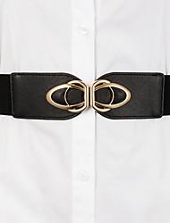 cheap -Women's Wide Belt Daily Tea Party Black Brown Belt Pure Color