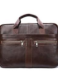 cheap -Men's Bags Nappa Leather Cowhide Briefcase Top Handle Bag Zipper Daily Handbags Black Coffee