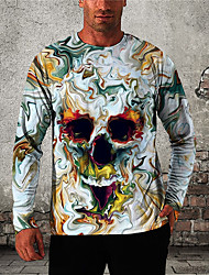 cheap -Men's Unisex T shirt 3D Print Graphic Prints Skull Print Long Sleeve Daily Tops Casual Designer Big and Tall Light Blue