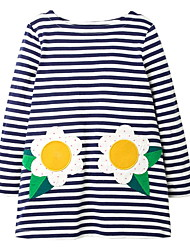 cheap -Kids Little Girls' Dress Striped Graphic Flower A Line Dress Daily Print Blue Midi Long Sleeve Princess Cute Dresses Fall Spring Regular Fit 3-10 Years