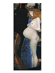 cheap -Oil Painting Handmade Hand Painted Wall Art Famous Classic Hope I By  Gustav Klimt Home Decoration Decor Rolled Canvas No Frame Unstretched