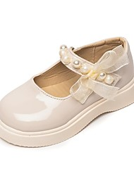 cheap -Girls' Flats Comfort Children's Day School Shoes PU Big Kids(7years +) Little Kids(4-7ys) Daily Walking Shoes Pearl Buckle White Black Spring Summer