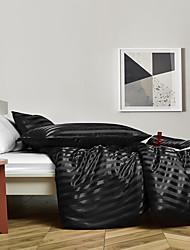 cheap -3 Piece Satin Duvet Cover Set Bedding Sets Luxury Rich Silk Silky Super Soft Stripes Hidden Zipper Closure Reversible Wrinkle Free