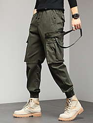 cheap -Men's Stylish Cargo Cycling Moisture Wicking Breathable Soft Chinos Tactical Cargo Casual Daily Pants Solid Color Full Length Pocket Elastic Waist ArmyGreen Blue Khaki Black