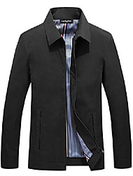 cheap -men casual turn-down jacket business meeting lightweight windproof trench coat black x-large