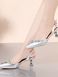 cheap -Women's Heels Pumps Pointed Toe Party Work PU Crystal Sparkling Glitter Buckle Solid Colored Silver