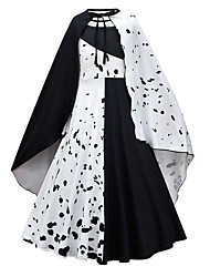 cheap -One Hundred and One Dalmatians Princess Dress Cosplay Costume Party Costume Girls' Movie Cosplay Cosplay Costume Party White Beige Dress Cloak Halloween Masquerade Polyester