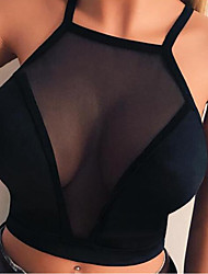 cheap -Women's Bras & Bralettes Wireless Fixed Straps Full Coverage Mesh Micro-elastic Breathable Date Casual / Daily Black
