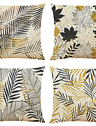 cheap -Tropical Plant Double Side Cushion Cover 4PC Soft Decorative Square Throw Pillow Cover Cushion Case Pillowcase for Bedroom Livingroom Superior Quality Machine Washable Indoor Cushion for Sofa Couch Bed Chair