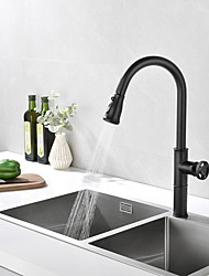 cheap -Matte Black Kitchen Faucet Pull Down Sprayer - Single Handle Commercial High Arc One Hole Pull Out Spray Head Kitchen Sink Faucets Copper Body