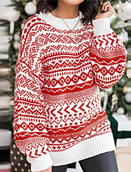 cheap -Women's Pullover Dress Sweater Knitted Argyle Stylish Casual Soft Long Sleeve Sweater Cardigans Crew Neck Fall Winter Black Red Coffee / Christmas / Ugly Sweater / Jumper