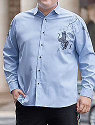 cheap -Men's Shirt Graphic Animal Plus Size Formal Style Classic Long Sleeve Business Tops Sports & Outdoors Ordinary Modern Style LightBlue