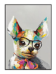 cheap -Oil Painting Handmade Hand Painted Wall Art Vertical Modern Puppy With Glasses Animal Home Decoration Decor Rolled Canvas No Frame Unstretched